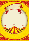 Big top of fiesta. A red and yellow background with a big top for a poster stock illustration