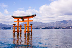 A big Torii gate at Miyajima, Japan Royalty Free Stock Image