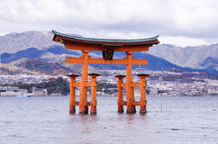 A big Torii gate at Miyajima, Japan Royalty Free Stock Images