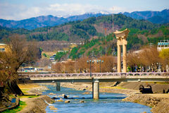 Big torii gates of Hachimangu shrine over Miyagawa river Royalty Free Stock Photos