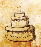 Big torte on paper background and color effect. hand drawn picture sketch. Royalty Free Stock Photos