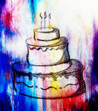 Big torte on paper background and color effect. hand drawn picture sketch. Big torte on paper background and color effect. hand drawn picture sketch Royalty Free Stock Photos