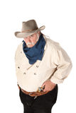 Big Tough Cowboy. With moustache and pistol in belt Royalty Free Stock Image