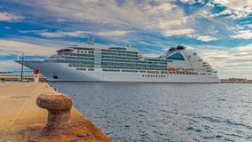 Big Tourist Ship Near The Mediterranean Town Palamos In Spain, 15. 05. 2018 Spain Stock Photography