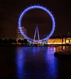 Big touristic wheel shining in the night. A big touristic wheel, the London Eye, shining in the night royalty free stock photos