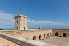 Big tower of Castle of Montjuic, Barcelona Stock Photo