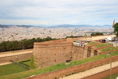 Big tower of Castle of Montjuic, Barcelona Royalty Free Stock Photography