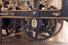Big tower clock. Old mechanism of a big tower clock Royalty Free Stock Photography