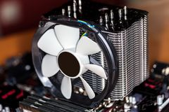 Big tower cooler for central processing unit Stock Image
