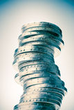 Big tower of euro coins Royalty Free Stock Images