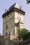 Big Tower - Karlstejn castle. Karlstejn Castle - gateway and watch tower. Karlstejn Castle - is a famous Gothic castle founded 1348 by Charles IV - King of Royalty Free Stock Photos
