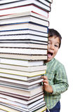 A big tower of many books vertical Royalty Free Stock Photo