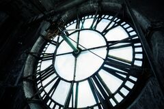 Free Big Tower With Close-up On Clock Face Mechanism Stock Photo - 202784810