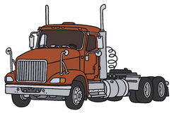 Big towing truck. Big red american towing truck, vector illustration, hand drawing Royalty Free Illustration