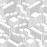 Big Town in isometric view. Seamless pattern with houses. Stock Photos