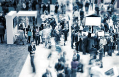 Big trade show. View of blurred crowd on a exhibition with trade fair booths. copyspace for your individual text Stock Photos