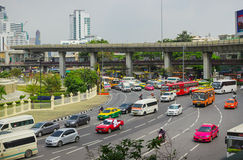 Big traffic flows in the squares Bangkok Royalty Free Stock Photos
