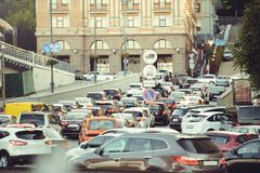 Big traffic jam on the road in the city, cars are standing.  Royalty Free Stock Photos