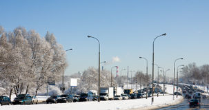 Big traffic jam after snowing Royalty Free Stock Photos