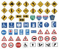 The big traffic sign. Collection vector Royalty Free Stock Photo