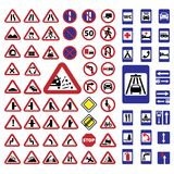 Big traffic signs set Stock Photos