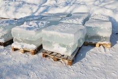 Big translucent ice blocs Stock Photo