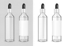 Big transparent glass bottle with dropper for cosmetic and medicine royalty free illustration