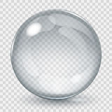 Big transparent glass sphere. With glares and shadow. Transparency only in vector file Stock Images