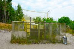 A big trap for birds. Big trap for birds on the ornithological station, Curonian Spit, Kaliningrad Region Stock Photos
