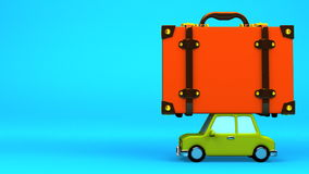 Big Travel Luggage And Car On Blue Text Space. 3D render Animation stock footage