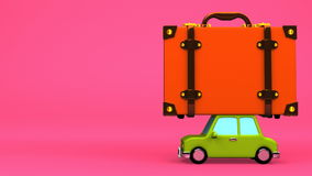 Big Travel Luggage And Car On Pink Text Space. 3D render Animation stock video