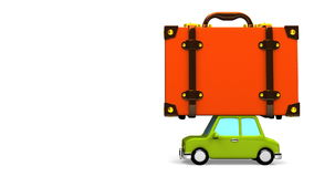 Big Travel Luggage And Car On White Text Space. 3D render Animation stock video footage