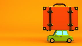 Big Travel Luggage And Car On Yellow Text Space. 3D render Animation stock footage