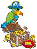 Big treasure chest with pirate parrot Stock Photos