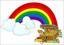 Big treasure chest and rainbow Royalty Free Stock Photography
