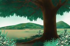 Big tree with beautiful scenry. Beautiful mountain and big plain location Royalty Free Stock Photo