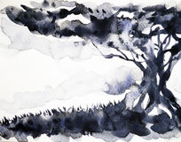 Big tree black color watercolor painting hand drawn illustration Stock Photography