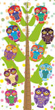 Big tree with green branches and fun colored owls on white background Children height meter wall sticker, kids measure. Vector Royalty Free Stock Image