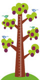 Big tree with green leaves birds and ripe purple plums on white background Children height meter wall sticker, kids measure. Vecto. R illustration Stock Images