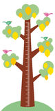 Big tree with green leaves birds and ripe yellow lemons on white background Children height meter wall sticker, kids measure. Vect Royalty Free Stock Photos