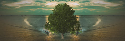 Big tree in the middle of the ocean. Abstract Stock Photos