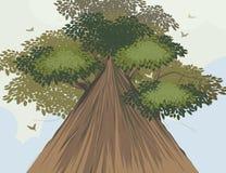 Big tree scene vector nature background Stock Photo