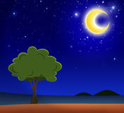 Big tree under the crescent moon Royalty Free Stock Photography