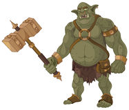 Big Troll. Big fat troll with wood hammer Royalty Free Stock Photo