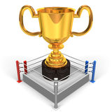 Big Trophy On Boxing Ring Front View Royalty Free Stock Photos