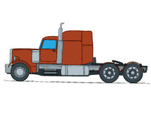 Big truck cartoon. Cartoon drawing of a big red truck, isolaed on white background Royalty Free Stock Photos