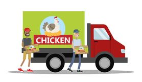 Big truck with chicken meat Royalty Free Stock Images