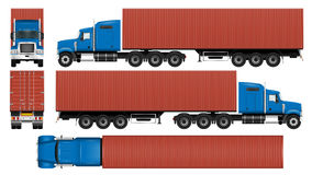 Big truck container template vector illustration