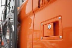 Big truck door. Big truck (excavator) door system-  doorknob,keyhole Royalty Free Stock Photo