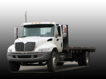 Big Truck with flat deck. White truck with flat deck against a gradient background Royalty Free Stock Photo